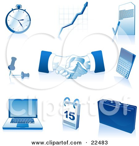Clipart Illustration of a Collection Of Blue And White Pocketwatch, Graph, Letter, Push Pins, Handshakes, Calculator, Laptop Computer, Calendar And Briefcase Icons, Over White by Tonis Pan