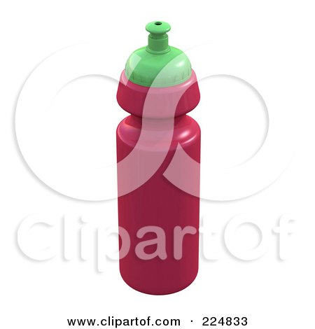 Royalty-Free (RF) Clipart Illustration of a 3d Rendered Pink Water Bottle by patrimonio