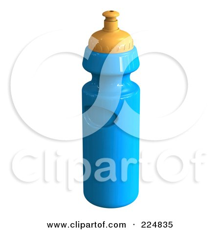 Royalty-Free (RF) Clipart Illustration of a 3d Rendered Blue Water Bottle by patrimonio
