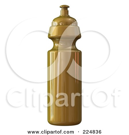 Royalty-Free (RF) Clipart Illustration of a 3d Rendered Gold Water Bottle by patrimonio