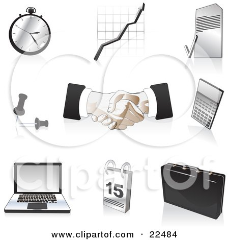 Collection Of Black, Silver And Tan Pocketwatch, Graph, Letter, Push Pins, Handshakes, Calculator, Laptop Computer, Calendar And Briefcase Icons, Over White Posters, Art Prints