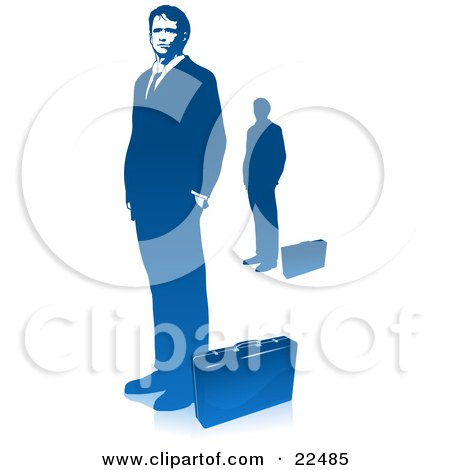 Clipart Illustration of a Corporate Businessman In A Suit, Standing With His Hands In His Pockets, A Briefcase At His Feet, Also Includes A Silhouetted Image, Over White by Tonis Pan