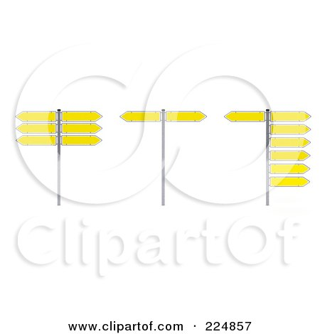 Royalty-Free (RF) Clipart Illustration of a Digital Collage Of 3d Yellow Arrow Directional Signs by stockillustrations