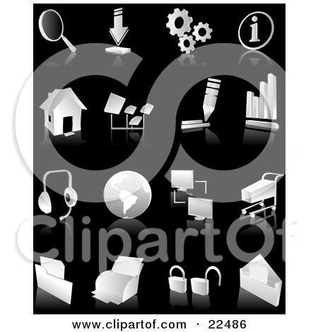 Clipart Illustration of a Collection Of White And Gray Search, Download, Information, Home Page, Music, Connectivity, Shopping, Printing, Security And Email Web And Computer Icons Over Black by Tonis Pan
