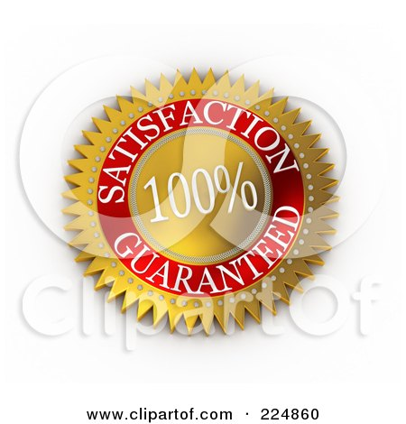 Royalty-Free (RF) Clipart Illustration of a 3d Gold And Red 100 Percent Satisfaction Guaranteed Seal by stockillustrations