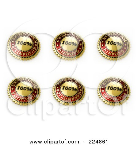 Royalty-Free (RF) Clipart Illustration of a Digital Collage Of Golden And Red Satisfaction Seal Designs by stockillustrations