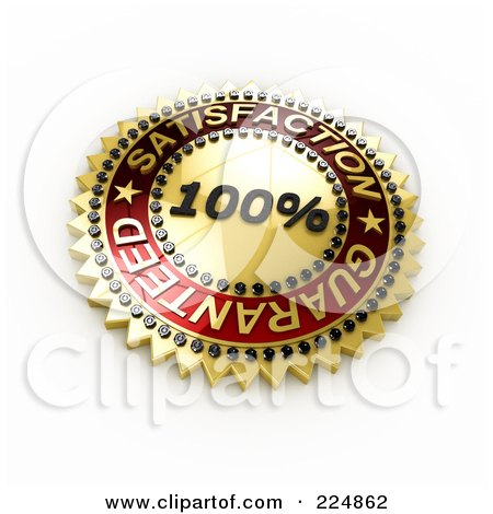 Royalty-Free (RF) Clipart Illustration of a 3d Golden And Red 100 Percent Satisfaction Guaranteed Seal by stockillustrations