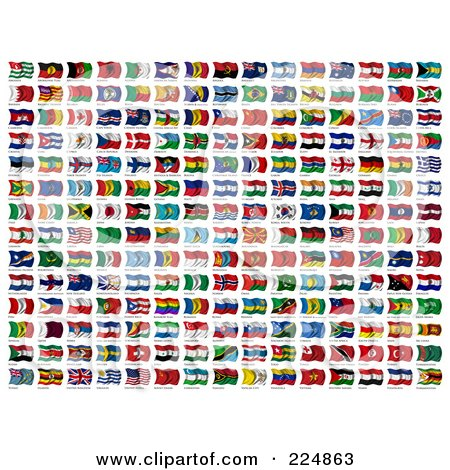Royalty-Free (RF) Clipart Illustration of a Digital Collage Of Wavy International Flags With Names Below Them by stockillustrations