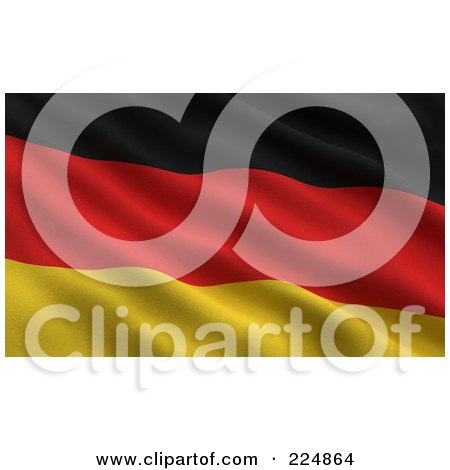 Royalty-Free (RF) Clipart Illustration of a 3d Rippling German Flag Background by stockillustrations