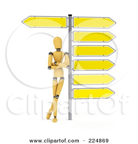 Royalty-Free (RF) Clipart Illustration of a Wooden Mannequin Leaning Against The Pole Of Directional Signs by stockillustrations