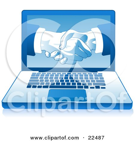 Clipart Illustration of a Blue Laptop Computer With Businessmen Shaking Hands Displayed On The Screen, Over A White Background by Tonis Pan