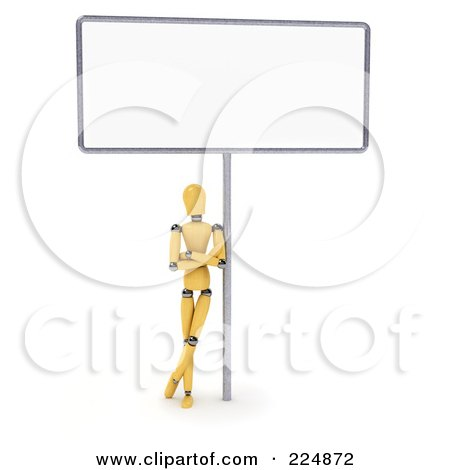 Royalty-Free (RF) Clipart Illustration of a Wooden Mannequin Leaning Against The Pole Of A Large Blank Sign by stockillustrations