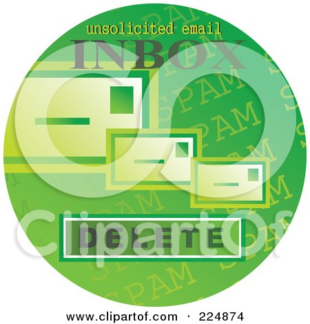 Royalty-Free (RF) Clipart Illustration of a Round Green Computer Sticker For Spam Email by Prawny