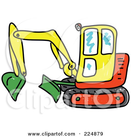 Sketched Yellow, Green And Red Excavator Posters, Art Prints