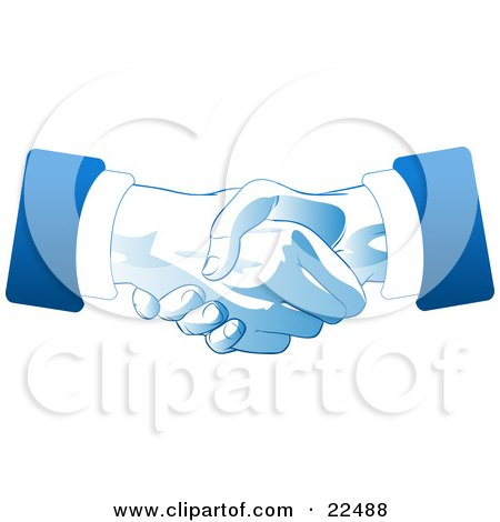 Clipart Illustration of Two Hands Of Businessmen Engaged In A Deal Binding Handshake, In Blue And White Tones by Tonis Pan
