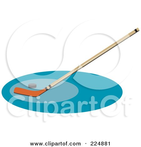 Royalty-Free (RF) Clipart Illustration of a Hockey Stick And Puck On A Blue Oval by Prawny