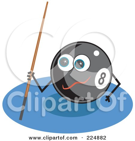 Royalty-Free (RF) Clipart Illustration of an Eightball Character Holding A Cue Stick by Prawny