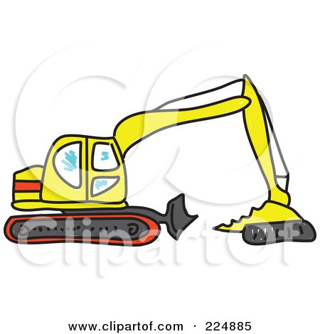 Sketched Yellow And Red Excavator Posters, Art Prints