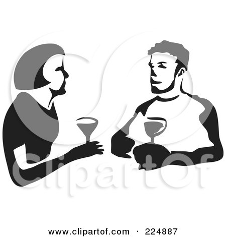 Royalty-Free (RF) Clipart Illustration of a Black And White Thick Line Drawing Of A Couple Wine Tasting by Prawny