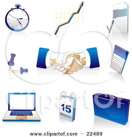 Clipart Illustration of a Collection Of Blue, Tan And White Pocketwatch, Graph, Letter, Push Pins, Handshakes, Calculator, Laptop Computer, Calendar And Briefcase Icons, Over White by Tonis Pan