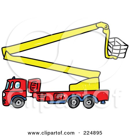 Royalty-Free (RF) Clipart Illustration of a Sketched Fire Truck With A Crane by Prawny