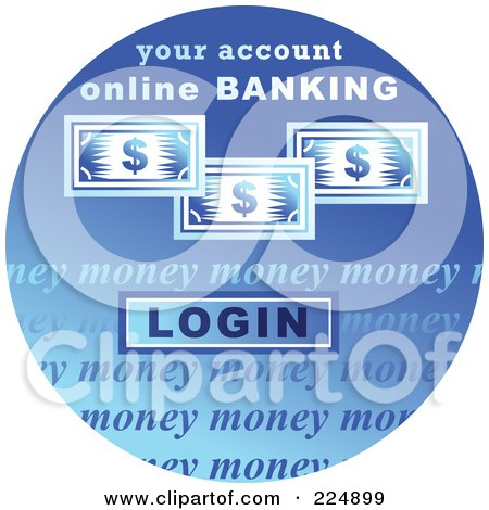 Royalty-Free (RF) Clipart Illustration of a Round Blue Computer Sticker For Online Banking by Prawny