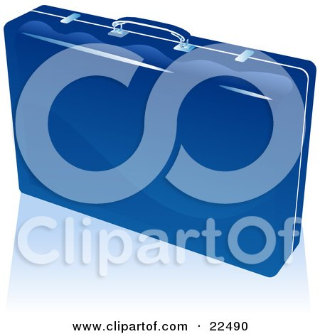 Clipart Illustration of a Shiny Corporate Businessman's Briefcase With Locks And A Handle, Standing Upright On A Reflective White Surface by Tonis Pan