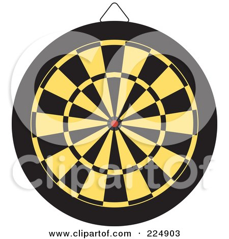 Royalty-Free (RF) Clipart Illustration of a Yellow And Black Dart Board by Prawny