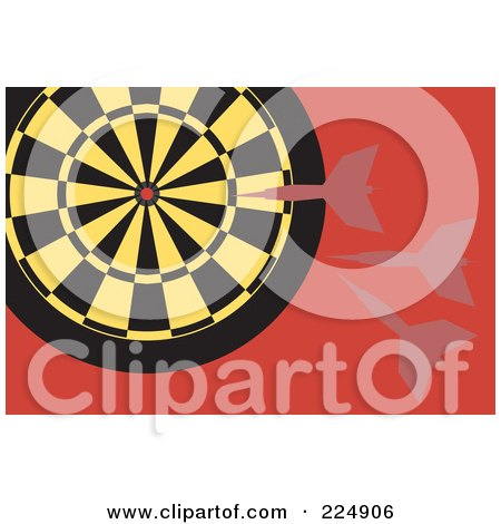 Royalty-Free (RF) Clipart Illustration of Darts Flying At A Yellow And Black Dart Board by Prawny