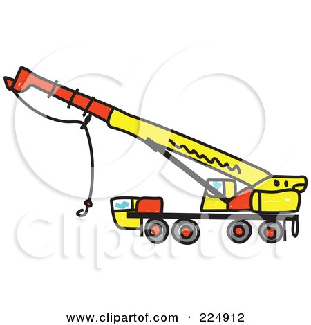 Royalty-Free (RF) Clipart Illustration of a Yellow Sketched Crane by Prawny