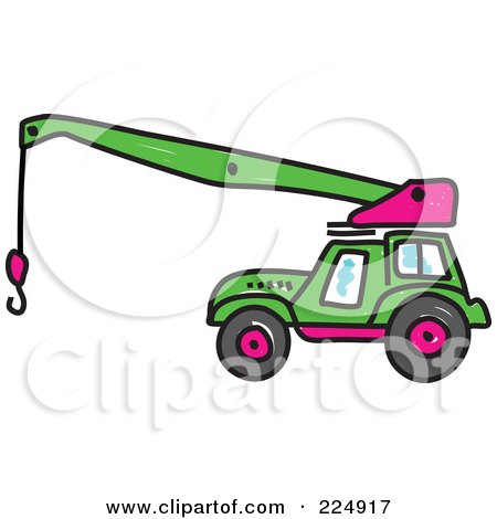 Royalty-Free (RF) Clipart Illustration of a Green Sketched Crane by Prawny