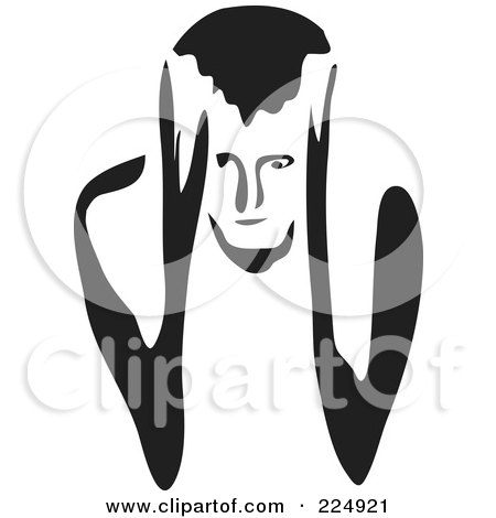 Royalty-Free (RF) Clipart Illustration of a Black And White Thick Line Drawing Of A Man With A Headache by Prawny