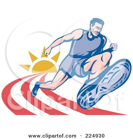 Royalty-Free (RF) Clipart Illustration of a Marathon Runner On A Track Logo by patrimonio
