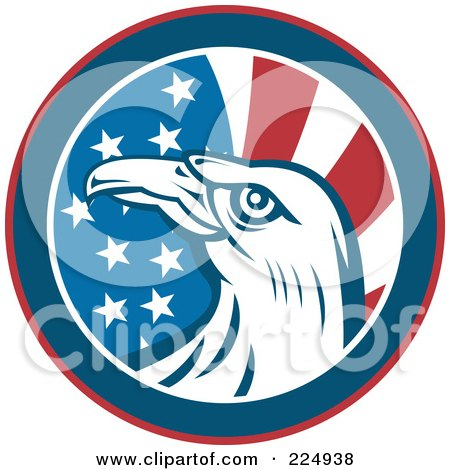 Royalty-Free (RF) Clipart Illustration of an American Eagle And Flag Circle Logo by patrimonio