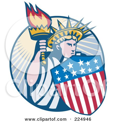 Royalty-Free (RF) Clipart Illustration of a Retro Statue Of Liberty With An American Shield And Torch Logo by patrimonio