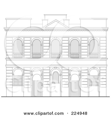 Royalty-Free (RF) Clipart Illustration of a Building Facade Sketch - 3 by patrimonio