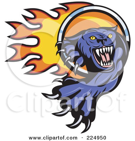 Royalty-Free (RF) Clipart Illustration of a Purple Panther Pawing Fire Through A Ring Logo by patrimonio