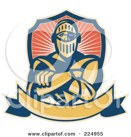 Royalty-Free (RF) Clipart Illustration of a Retro Knight With Crossed Arms, A Banner And Shield Logo by patrimonio