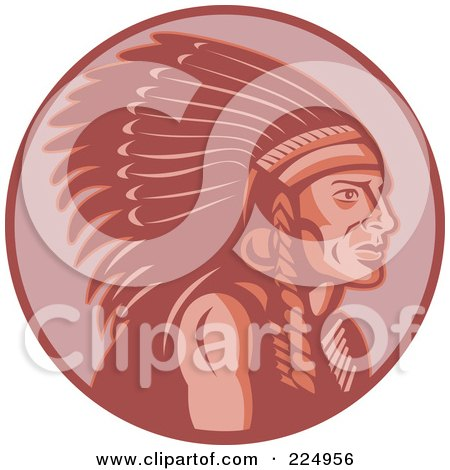Royalty-Free (RF) Clipart Illustration of a Retro Red Chief Logo by patrimonio