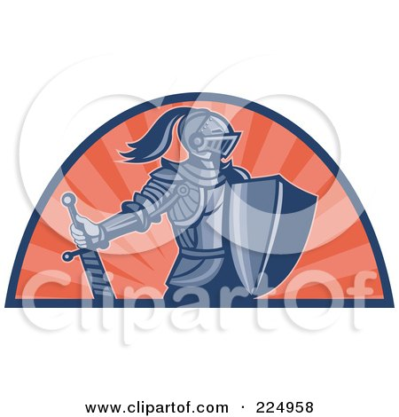 Royalty-Free (RF) Clipart Illustration of a Retro Knight With Shield And Sword Logo by patrimonio