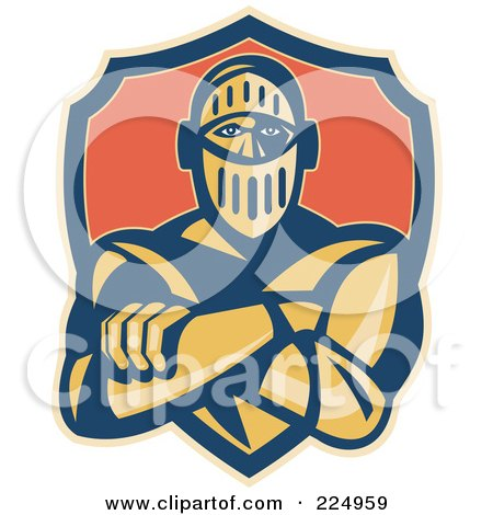 Royalty-Free (RF) Clipart Illustration of a Retro Knight With Crossed Arms And A Shield Logo by patrimonio