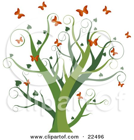 Clipart Illustration of a Curly Green Tree With Heart Leaves, Surrounded By Fluttering Orange Butterflies, On A White Background by Tonis Pan