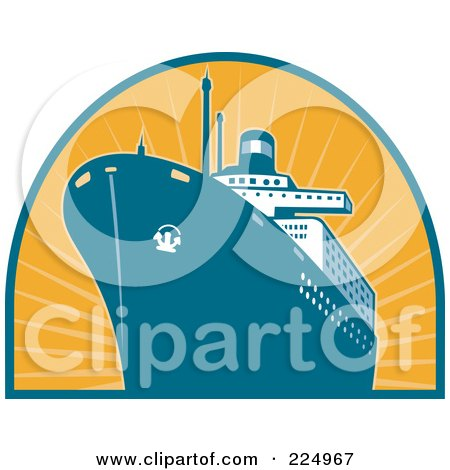 Royalty-Free (RF) Clipart Illustration of a Ship And Orange Rays Logo by patrimonio