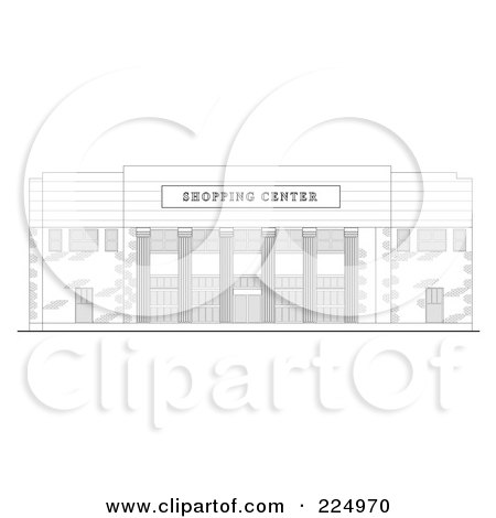 Royalty-Free (RF) Clipart Illustration of a Strip Mall Facade Building Sketch - 1 by patrimonio