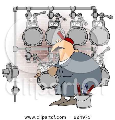 Worker Man Changing A Gas Meter Header By A Brick Wall Posters, Art Prints