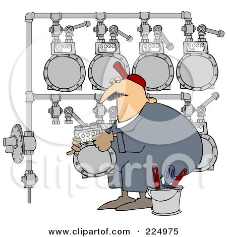 Royalty-Free (RF) Clipart Illustration of a Gas Man Changing A Meter Header by djart