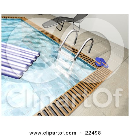 Clipart Illustration of a Float On The Water Of A Swimming Pool Near A Ladder, Flip Flops And A Chaise Lounge by KJ Pargeter