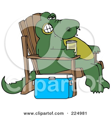 Royalty-Free (RF) Clipart Illustration of a Relaxed Alligator Sitting In An Adirondack Chair And Drinking A Canned Beverage By A Cooler by djart
