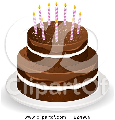 Royalty-Free (RF) Clipart Illustration of a Layered Chocolate Cake With White Filling And Fudge Frosting With Candles On Top by elaineitalia