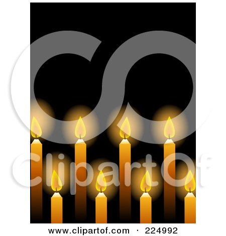 Royalty-Free (RF) Clipart Illustration of a Background Of Glowing Yellow Candles Over Black by elaineitalia